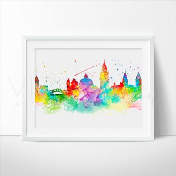 Venice Skyline Watercolor Art Print
