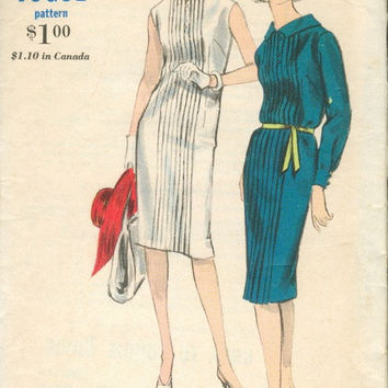 Retro 60s Mad Men Style Sheath Dress Vogue 5905 Sewing Pattern Tucked Pleated Front Business Casual Fashion Bust 34