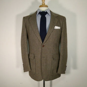 Vintage mens blazer sport coat jacket 70's by Joe Namath Brown Tweed Herringbone 38