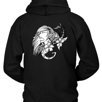 Macklemore And Ryan Lewis Shark Face Gang Fan Art Black And White Illustratons Hoodie Two Sided