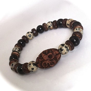 Mens Dalmation Jasper, Onyx & Carved Wood Mala Bead Bracelet, Yoga Jewelry Zen Tribal Unisex Stretch Bracelet Gemstone Bracelet Gift for Him
