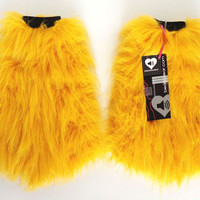 MADE TO ORDER uv GlITTeR YeLLoW Fluffies Fuzzy Leg Warmers fluffy boot covers rave gogo festival costume sparkly leggings