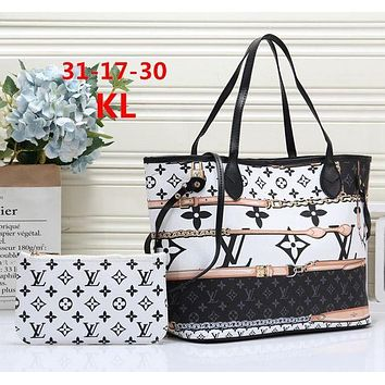 LV new women's tide brand large-capacity shopping bag handbags mother bag two-piece white+black