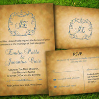 DIY Printable - Vintage Victorian Damask Classic Grey Customizable Wedding Invitation and RSVP Card Suite