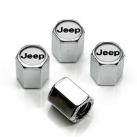 Jeep Silver Logo Chrome Tire Stem Valve Caps