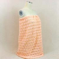 Beach Strapless Cover Up Maxi Dress Crochet Peach Swim Boho Swimsuit Bathing Suit Festival Clothing