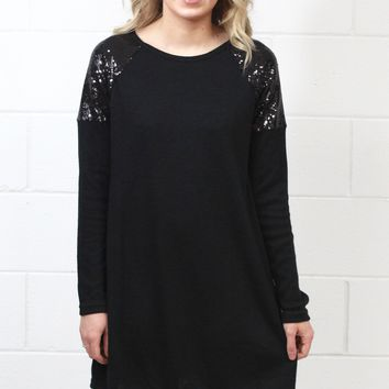 Sequin Shoulders Hacci Sweater Dress {Black}