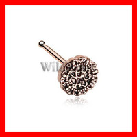 Rose Gold Mandela Filigree Icon Nose Stud Ring 316L Surgical Steel