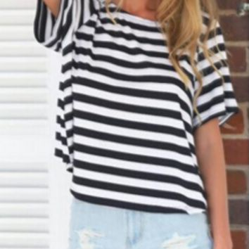 Stripe Short-Sleeve Twist Back Shirt