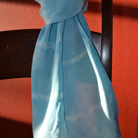 Light Blue Tie-Dye Silk Scarf