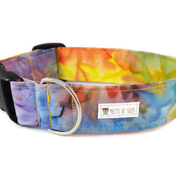 Tye Dye Dog Collar - Hippie Dog Collar - Colorful Dog Collar - Girl Dog Collar - The Woodstock - (Standard, Metal Buckle, or Martingale)
