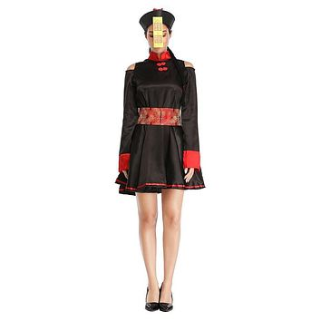 Women Halloween Scary Chinese Qing Dynasty Zombie Bloody Clothes Party Carnival Embroidery Dress