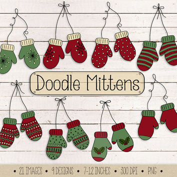 SALE. Christmas Clip Art. Hand Drawn Mittens Clipart. Doodle Winter Clothing Illustrations. Red & Green Christmas Mitten Scrapbooking Images