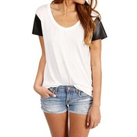 Pre-Order: Black/White Faux Leather Sleeves Top