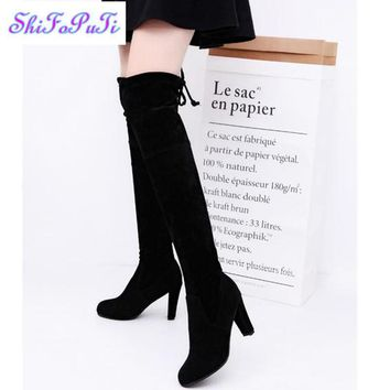 2017 Women Stretch Scrub leather High Boots Sexy Fashion Over the Knee Boots High Heel