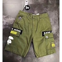 Aape Bape Trending Women Men Leisure Print Sports Shorts Pants Sweatpants Green I-CN-CFPFGYS