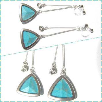 Triangle Turquoise 'clip on earring' R1MR, Non Pierced earring, Modern wedding earring, geometric bridal clip on earring, dangle earring