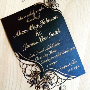 Water Lily floral wedding invitation laser cut garden elegant invitation flowers