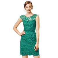 Green Sleeveless Lace Mini Dress