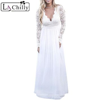 La Chilly Robe Longue 2017 Autumn Winter Womens Dress White Open Back Long Sleeve Crochet Maxi Party Christmas Dress LC61687