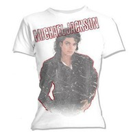 Bad Album Self-Faded -- Michael Jackson Crop Sleeve Fitted Juniors T-Shirt
