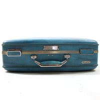 50s small American Escort Hard Sided Suitcase / Blue Vinyl