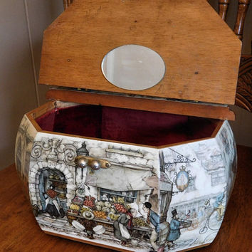 Decoupage Purse Hand Bag Wooden Mid Century 1950s 50s Lucite Handle Octagonal Decoupaged Wood Box Purse Anton Pieck Intricate Picturesque