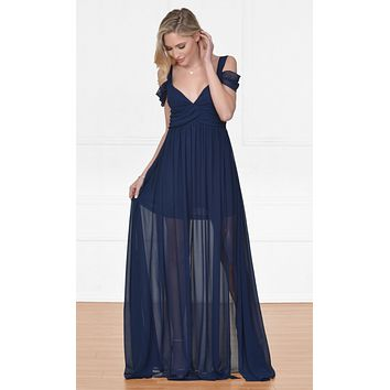 Indie XO Once Upon a Time Navy Blue Sleeveless Off The Shoulder V Neck Long Side Slit Maxi Dress Evening Gown