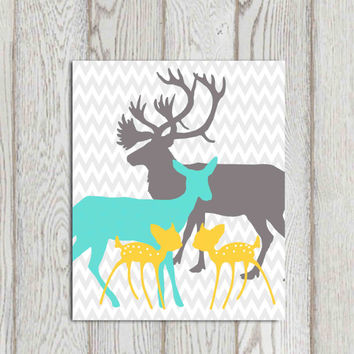 Twin bedroom printable Deer family print Nursery wall decor Grey turqoise yellow bedroom wall art Chevron Baby deer Father Mother DOWNLOAD