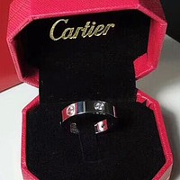 Cartier New fashion couple rings women ring diamond on simplicity Silver