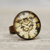 Vintage Clock Antiqued Brass Adjustable Ring, Glass Cabochon Antique Clock Ring