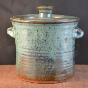 Handmade Ceramic Canister, Cookie Jar, Lidded Kitchen Storage With Handles    Celadon Green Brown