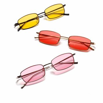 Transparent Yellow Pink Sunglasses for Women Brand Designer Vintage Small Sun Glasses Female Oculos De Sol Feminino Sunglase
