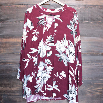 floral oversize boho tunic dress with lace inset - burgundy