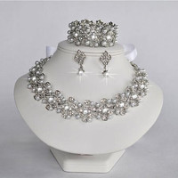 Sparkle-1352 Vintage Inspired Pearl & Crystal Rhinestone Vine Statement Necklace, Earrings and Bracelet Set, Bridal, Wedding