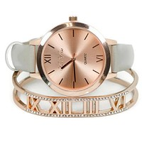 Rose Gold Grey Watch & Roman Numeral Bangle Set