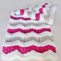 Hand Knit Baby Blanket, Newborn Girl Shower Gift, Pink White Tan Warm Winter Ripple Afghan, Toddler Stroller Blanket, Coming Home Gift New
