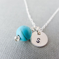 Turquoise necklace, silver initial necklace, stamped letter necklace, simple charm, personalised jewellery, gift for her, spring necklace
