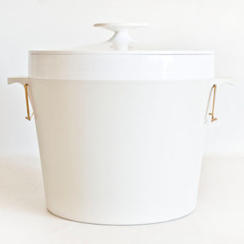 Vintage Therm Ware Ice Bucket, David Douglas Ice Container, White and Soft Gray Mid Century Barware, Modern Decor