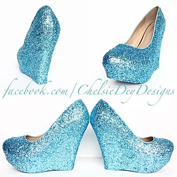 Aqua Wedge Glitter Pumps, Robins Egg Wedding High Heels, Sparkly Turquoise Prom Wedge