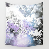 Watercolor Floral Lavender Teal Gray Wall Tapestry by lilkiddies