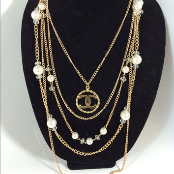 Multi Gold And Pearl Necklace W Chanel Charm (Handmade)