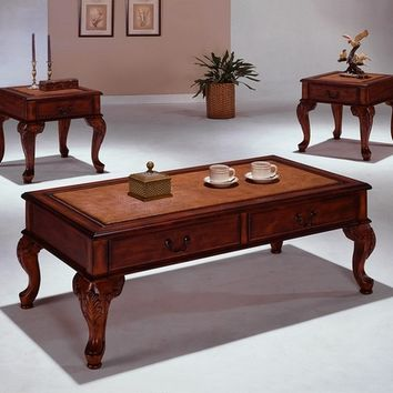 3 pc Explorer dark finish wood coffee and end table set with carved legs and drawers