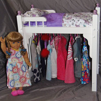 American Girl Doll bed and clothes storage unit combo with dancing Fairy bedding and ladder