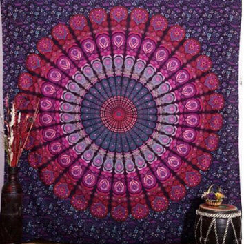 2016 New Summer Large Cotton Blend Indian Mandala Tapestry Printed Round Swim Beach Towels Hippie Bohemian Bedspread Dorm Decor