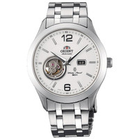 Orient FDB05001W Men's Golden Eye Semi-Skeleton White Dial Steel Bracelet Automatic Watch