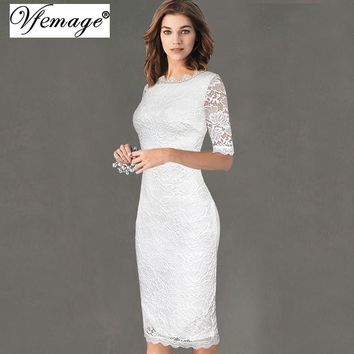 Vfemage Womens Elegant Delicate Floral Lace Casual Party Evening Bodycon Special Occasion Bridesmaid Mother of Bride Dress 2985