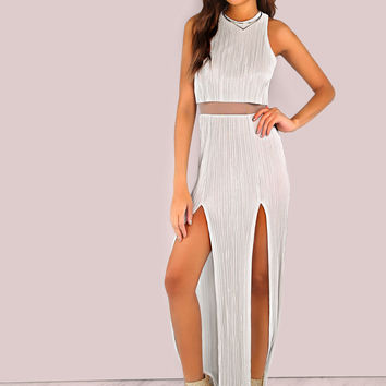 Finely Pleated Slit Dress SILVER | MakeMeChic.COM