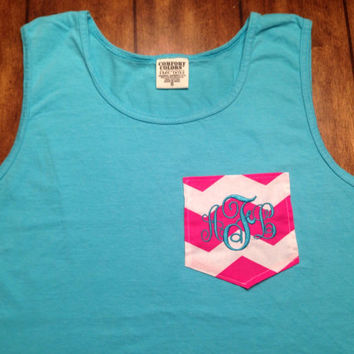 Comfort colors swimsuit tank cover up with custom pocket and monograming