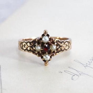 Victorian Garnet & Pearl Ring, Antique 10k Rose Gold, Engraved Date 1883, Bohemian Promise Alternative Engagement Ring, January Birthstone